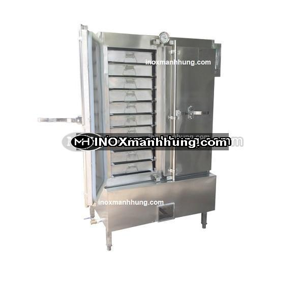 Tủ hấp cơm công nghiệp 100kg sử dụng điện và Gas